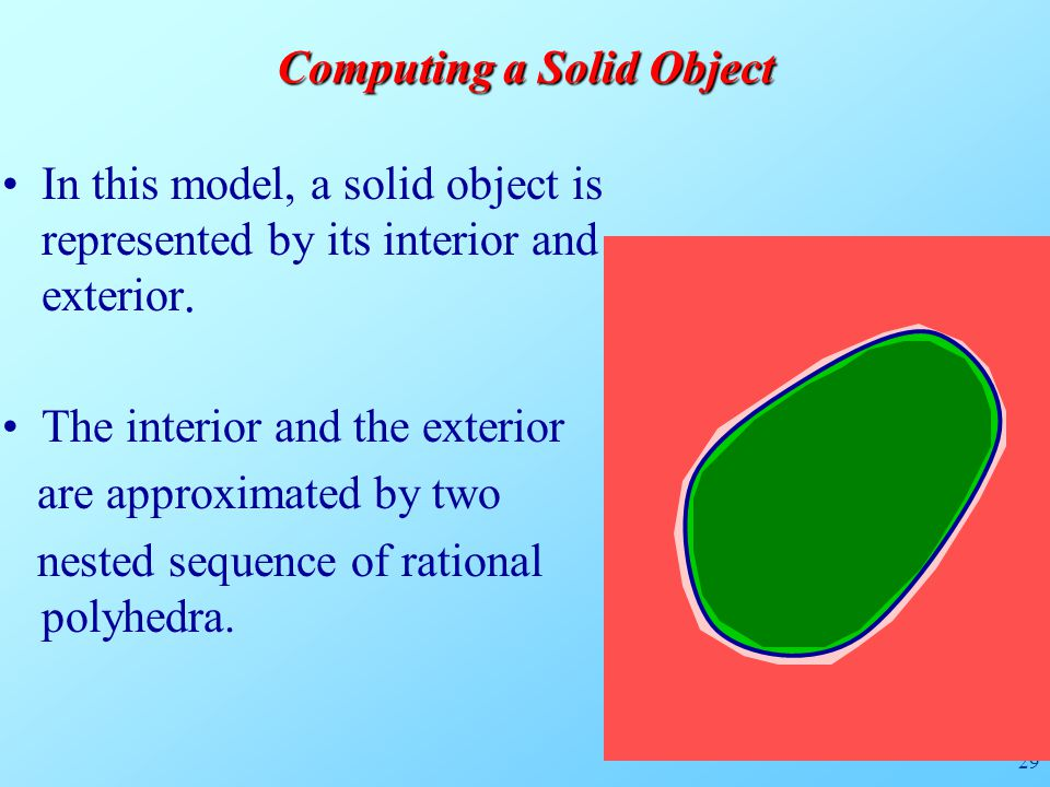 29 Computing a Solid Object In this model, a solid object is represented by its interior and exterior.