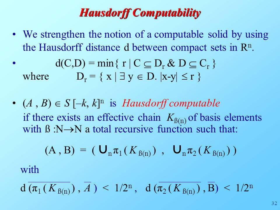 32 We strengthen the notion of a computable solid by using the Hausdorff distance d between compact sets in R n.