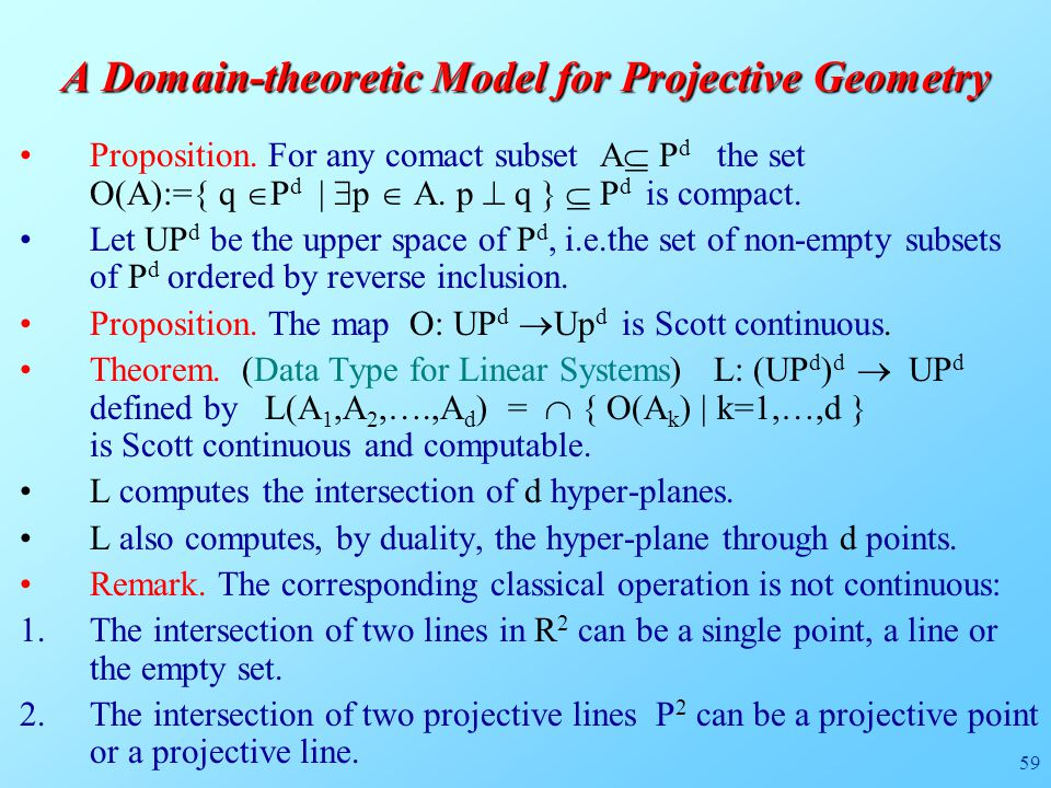 59 A Domain-theoretic Model for Projective Geometry Proposition.