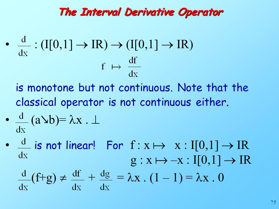 75 The Interval Derivative Operator : (I[0,1]  IR)  (I[0,1]  IR) is monotone but not continuous.