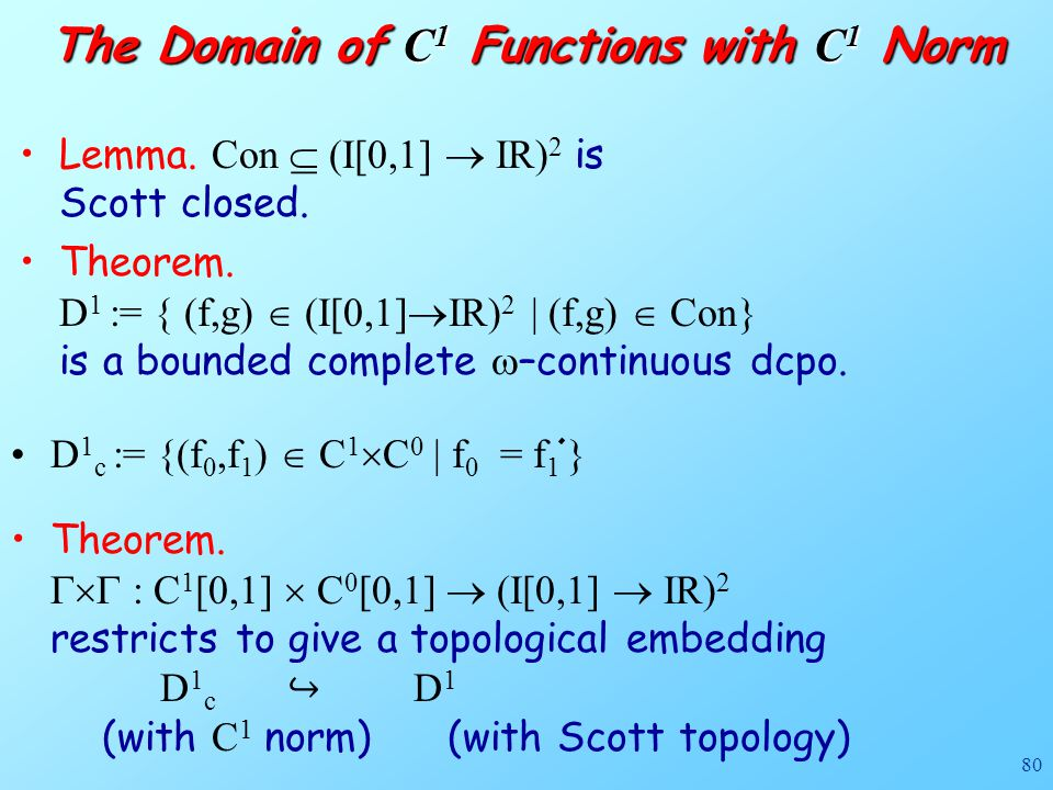 80 Lemma. Con  (I[0,1]  IR) 2 is Scott closed. Theorem. D 1 := { (f,g)  (I[0,1]  IR) 2 | (f,g)  Con} is a bounded complete  –continuous dcpo. Th