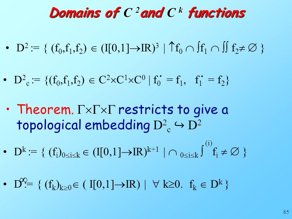 85 Domains of C 2 and C k functions D 2 := { (f 0,f 1,f 2 )  (I[0,1]  IR) 3 |  f 0   f 1   f 2   } D 2 c := {(f 0,f 1,f 2 )  C 2  C 1  C