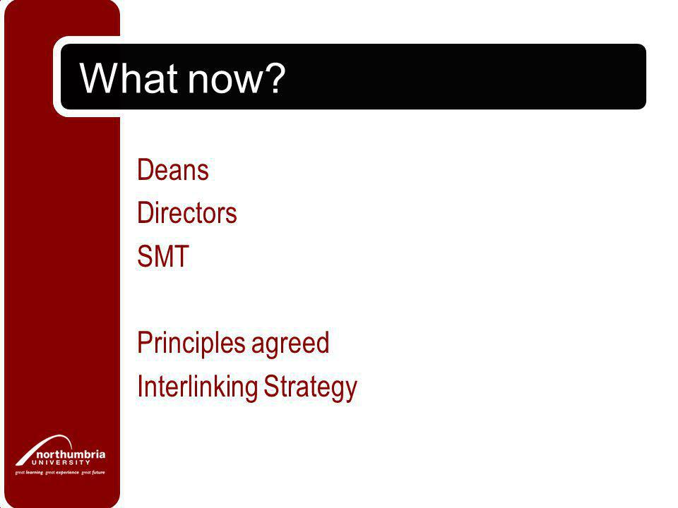 What now? Deans Directors SMT Principles agreed Interlinking Strategy