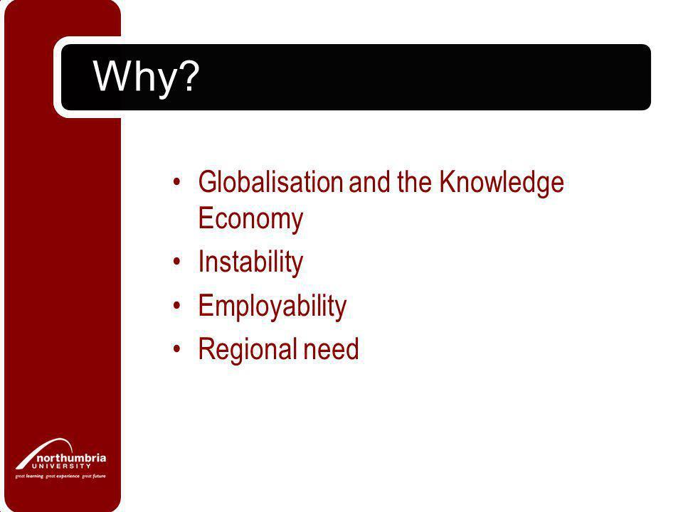 Why? Globalisation and the Knowledge Economy Instability Employability Regional need
