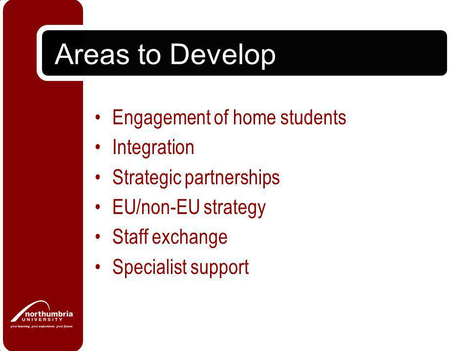 Areas to Develop Alumni Distance Learning strategy Bigger picture with finance Research on employability Research students Coordination
