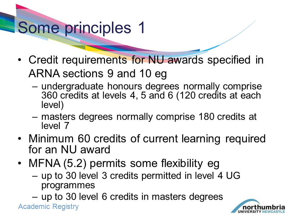 Academic Registry At award stage: classification cannot be improved by compensation or successful referral where requirements for named award met, cannot re-register to improve classification but, from 2013/14: FT and PT programmes no longer governed by the same regulations for progression, compensation and referral Some principles 2