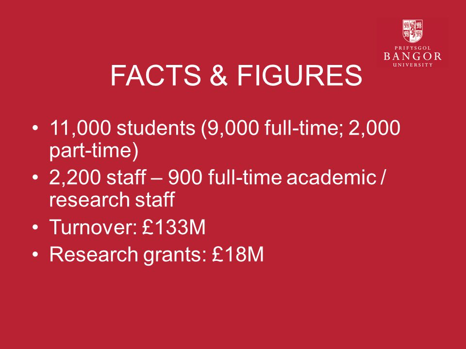 FACTS & FIGURES 11,000 students (9,000 full-time; 2,000 part-time) 2,200 staff – 900 full-time academic / research staff Turnover: £133M Research grants: £18M