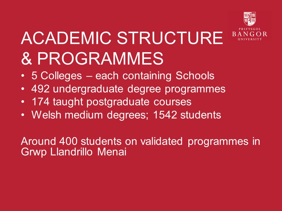ACADEMIC STRUCTURE & PROGRAMMES 5 Colleges – each containing Schools 492 undergraduate degree programmes 174 taught postgraduate courses Welsh medium degrees; 1542 students Around 400 students on validated programmes in Grwp Llandrillo Menai