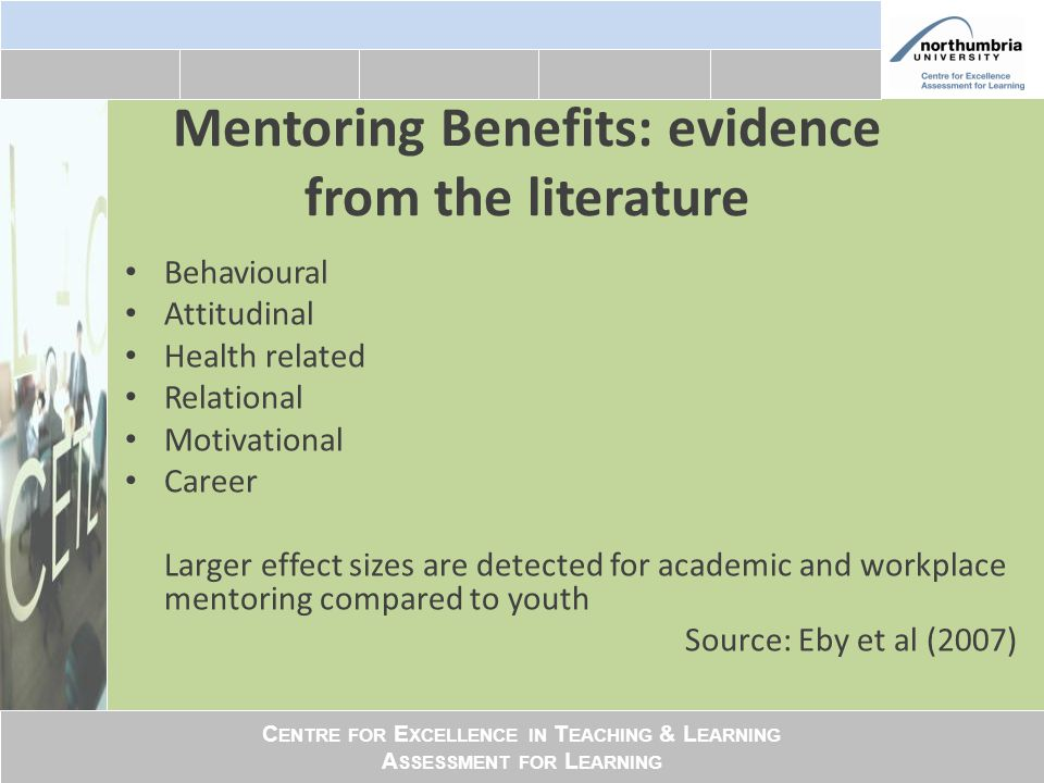 C ENTRE FOR E XCELLENCE IN T EACHING & L EARNING A SSESSMENT FOR L EARNING Mentoring Benefits: evidence from the literature Behavioural Attitudinal He