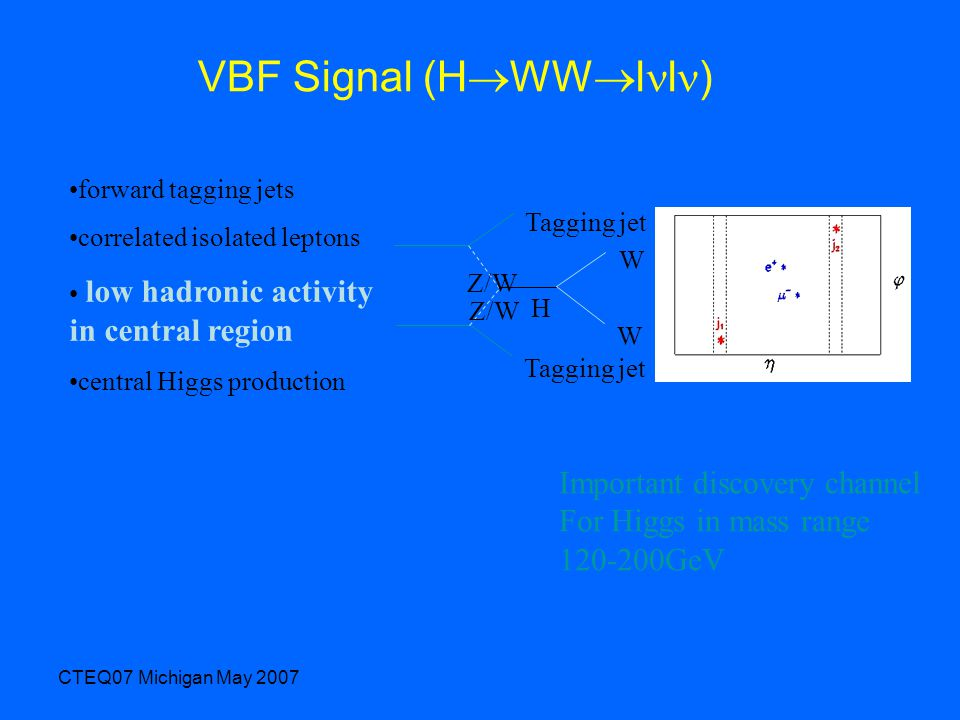 CTEQ07 Michigan May 2007 VBF Signal (H  WW  l l ) forward tagging jets correlated isolated leptons low hadronic activity in central region central Higgs production Tagging jet H W W Z/W Important discovery channel For Higgs in mass range 120-200GeV