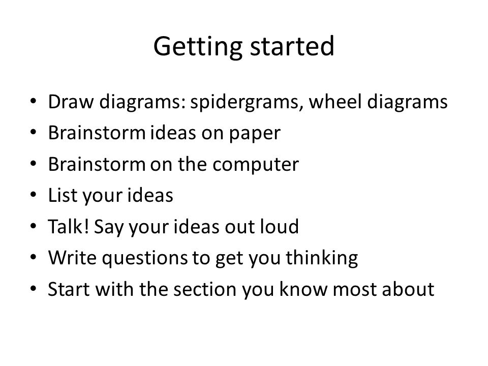 Getting started Draw diagrams: spidergrams, wheel diagrams Brainstorm ideas on paper Brainstorm on the computer List your ideas Talk.