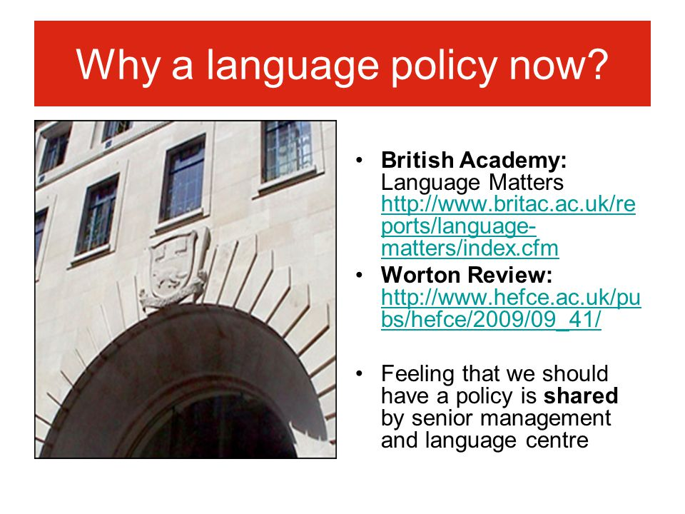 Why a language policy now.
