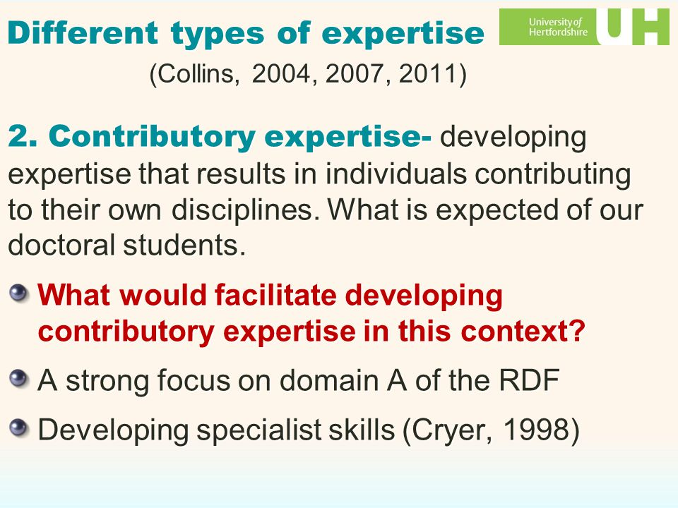 Different types of expertise (Collins, 2004, 2007, 2011) 2.