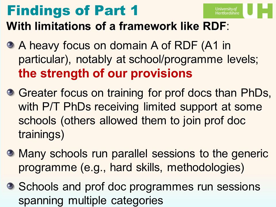 Findings of Part 1 With limitations of a framework like RDF: A heavy focus on domain A of RDF (A1 in particular), notably at school/programme levels; the strength of our provisions Greater focus on training for prof docs than PhDs, with P/T PhDs receiving limited support at some schools (others allowed them to join prof doc trainings) Many schools run parallel sessions to the generic programme (e.g., hard skills, methodologies) Schools and prof doc programmes run sessions spanning multiple categories With limitations of a framework like RDF: A heavy focus on domain A of RDF (A1 in particular), notably at school/programme levels; the strength of our provisions Greater focus on training for prof docs than PhDs, with P/T PhDs receiving limited support at some schools (others allowed them to join prof doc trainings) Many schools run parallel sessions to the generic programme (e.g., hard skills, methodologies) Schools and prof doc programmes run sessions spanning multiple categories