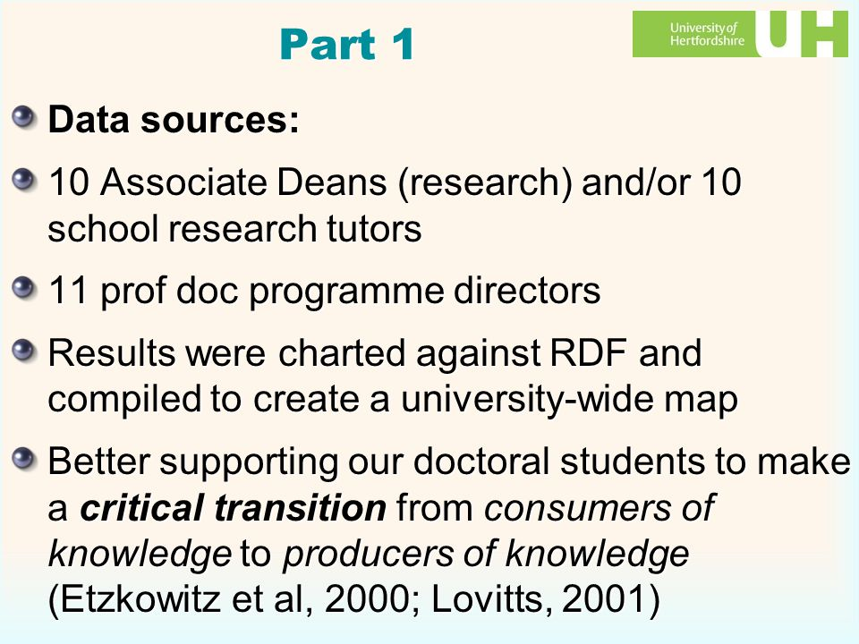 Part 1 Data sources: 10 Associate Deans (research) and/or 10 school research tutors 11 prof doc programme directors Results were charted against RDF and compiled to create a university-wide map Better supporting our doctoral students to make a critical transition from consumers of knowledge to producers of knowledge (Etzkowitz et al, 2000; Lovitts, 2001) Data sources: 10 Associate Deans (research) and/or 10 school research tutors 11 prof doc programme directors Results were charted against RDF and compiled to create a university-wide map Better supporting our doctoral students to make a critical transition from consumers of knowledge to producers of knowledge (Etzkowitz et al, 2000; Lovitts, 2001)