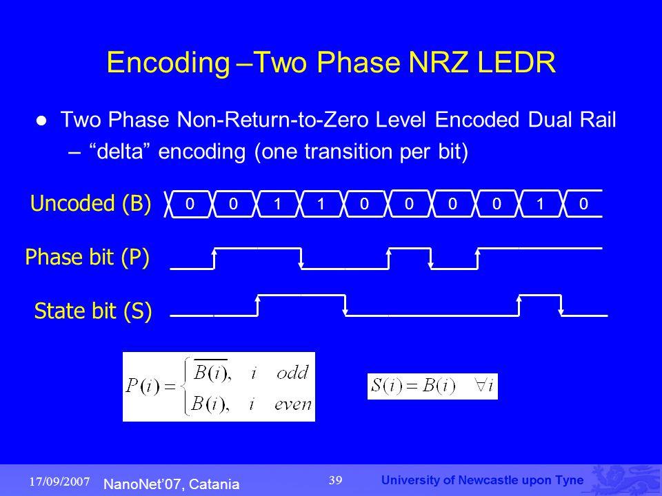 "NanoNet'07, Catania 17/09/2007 39 Encoding –Two Phase NRZ LEDR Two Phase Non-Return-to-Zero Level Encoded Dual Rail –""delta"" encoding (one transition"