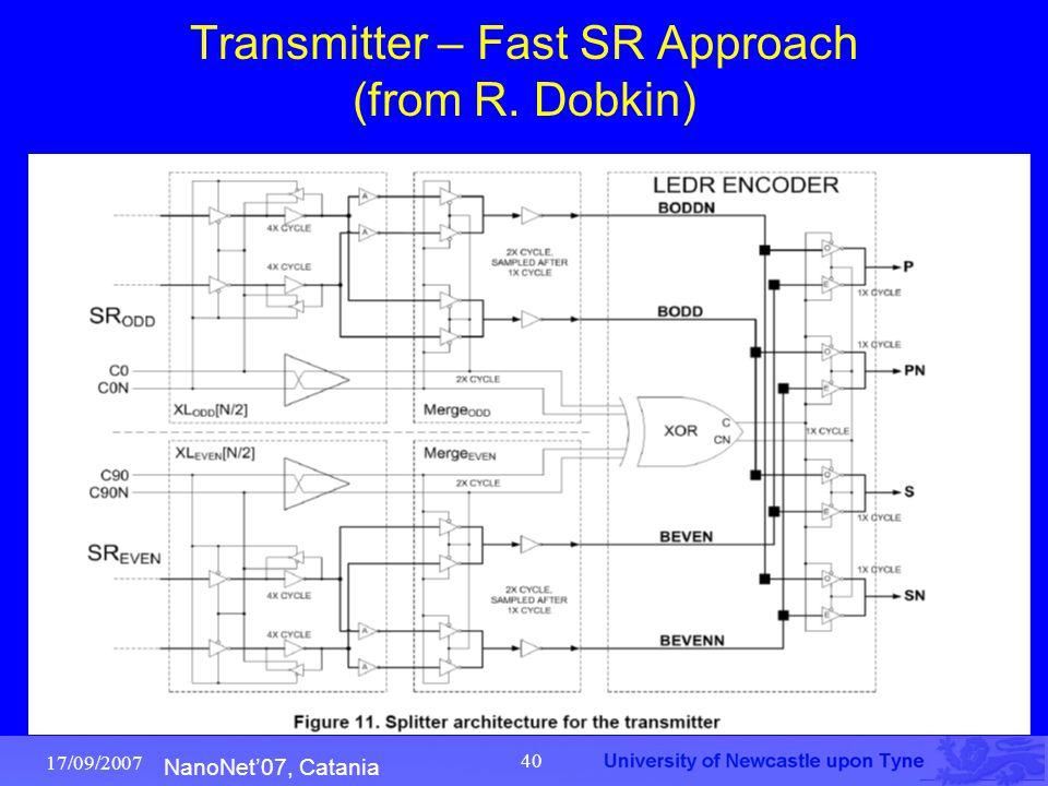 NanoNet'07, Catania 17/09/2007 40 Transmitter – Fast SR Approach (from R. Dobkin)