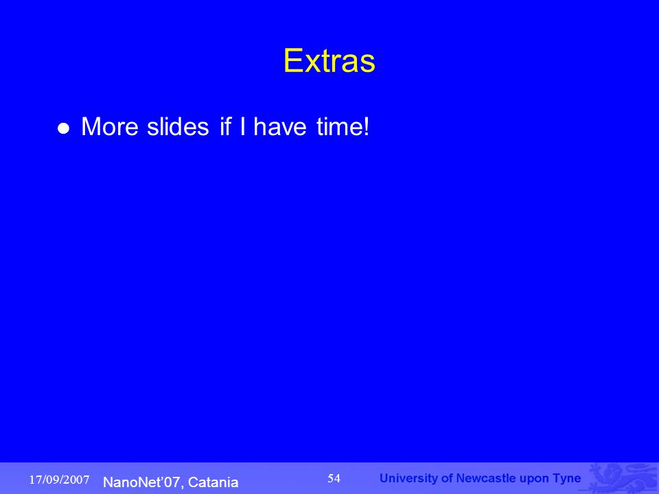 NanoNet'07, Catania 17/09/2007 54 Extras More slides if I have time!