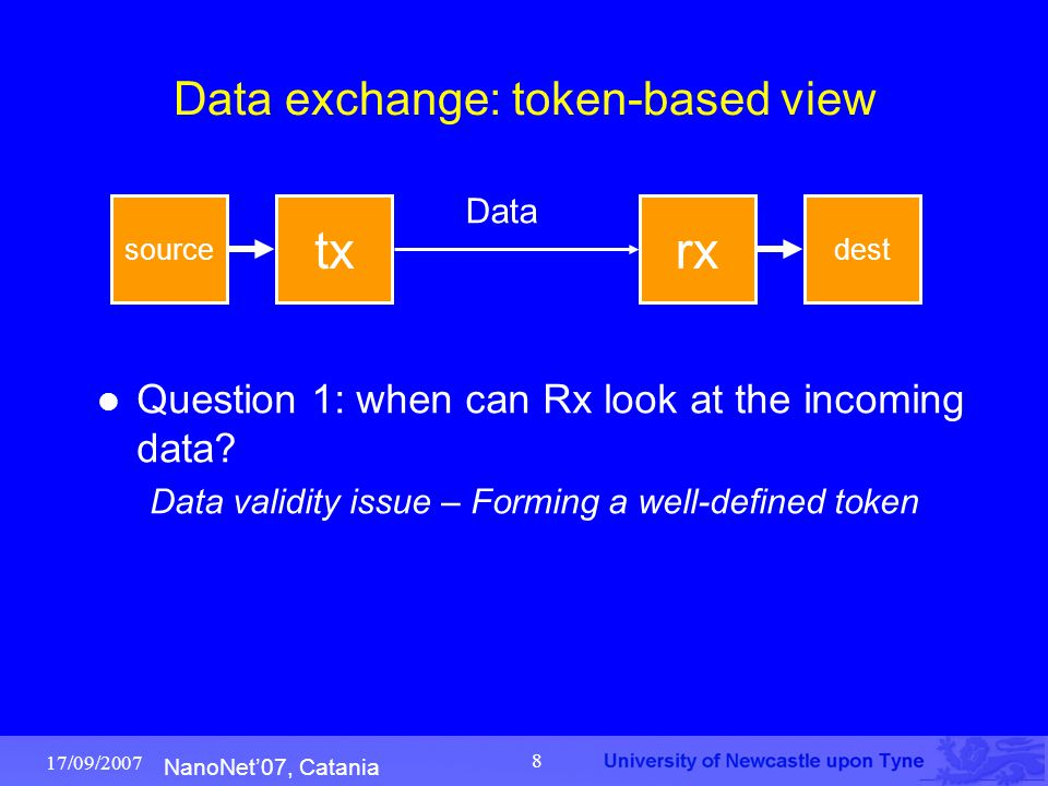 NanoNet'07, Catania 17/09/2007 8 Data exchange: token-based view Question 1: when can Rx look at the incoming data? Data validity issue – Forming a we
