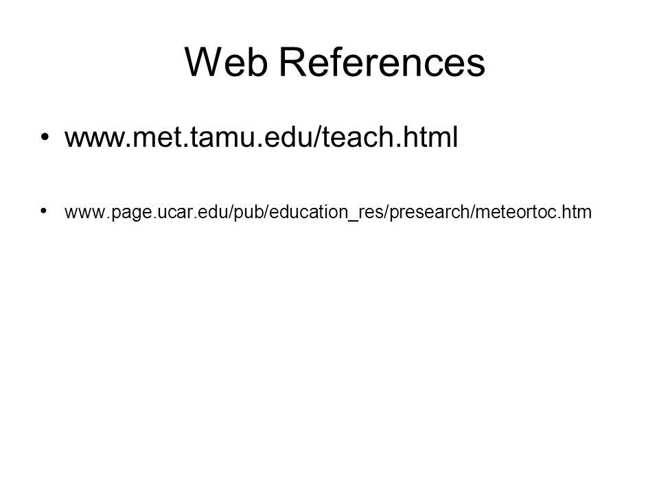 Web References www.met.tamu.edu/teach.html www.page.ucar.edu/pub/education_res/presearch/meteortoc.htm