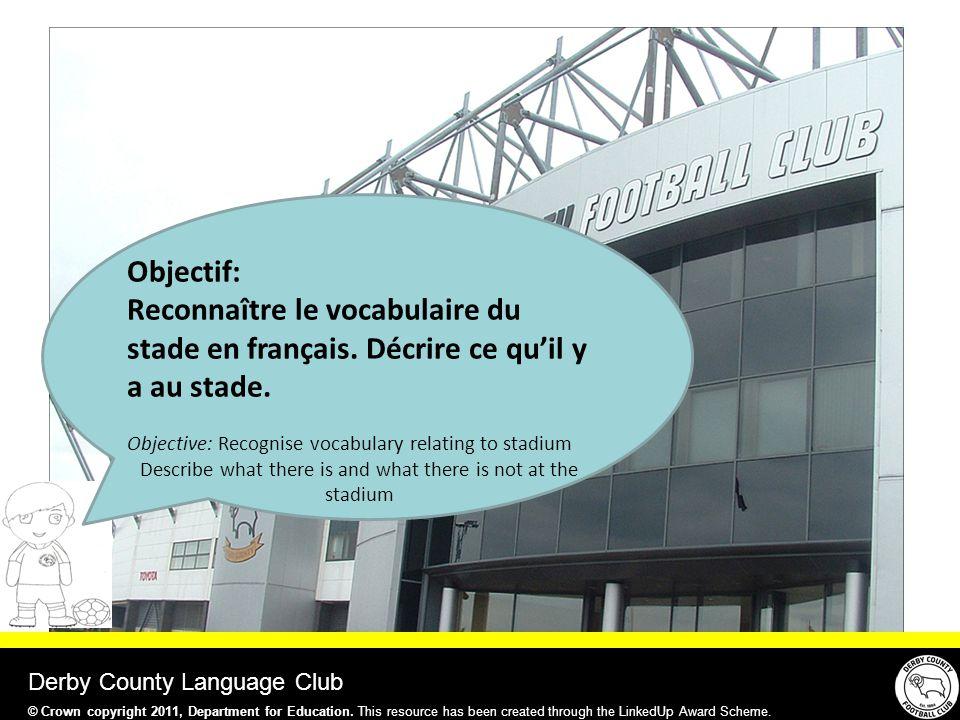 Objectif: Reconnaître le vocabulaire du stade en français.