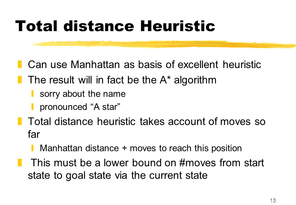 13 Total distance Heuristic zCan use Manhattan as basis of excellent heuristic zThe result will in fact be the A* algorithm ysorry about the name ypro
