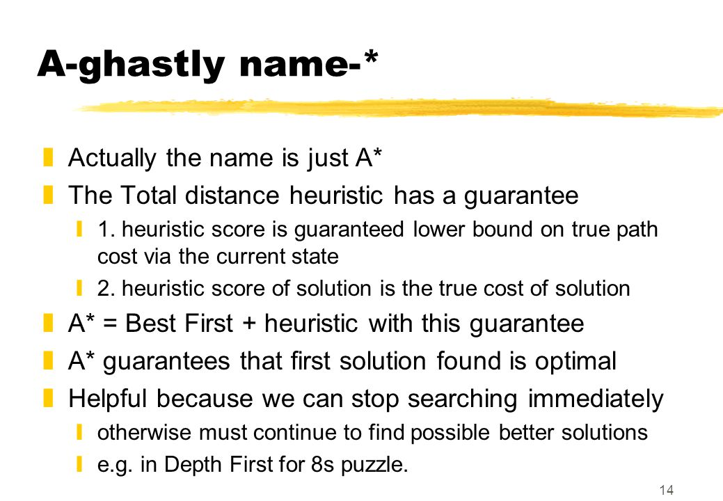 14 A-ghastly name-* zActually the name is just A* zThe Total distance heuristic has a guarantee y1. heuristic score is guaranteed lower bound on true