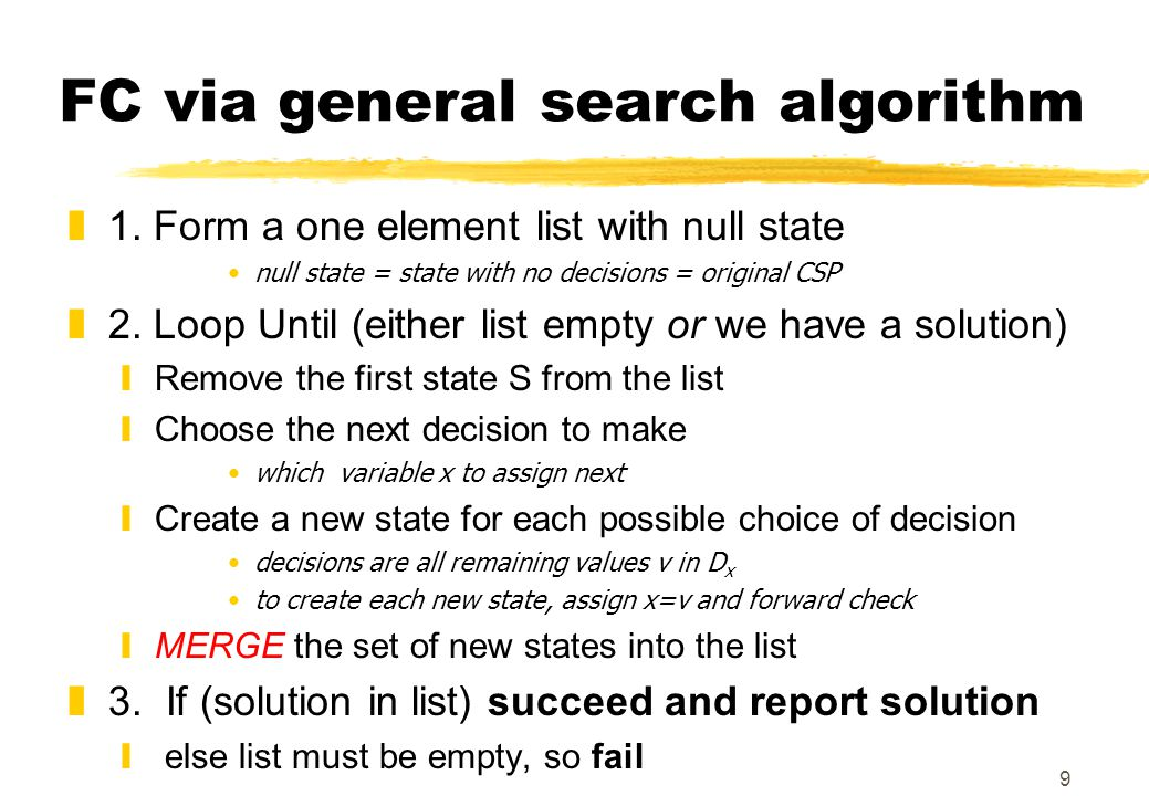 9 FC via general search algorithm z1.