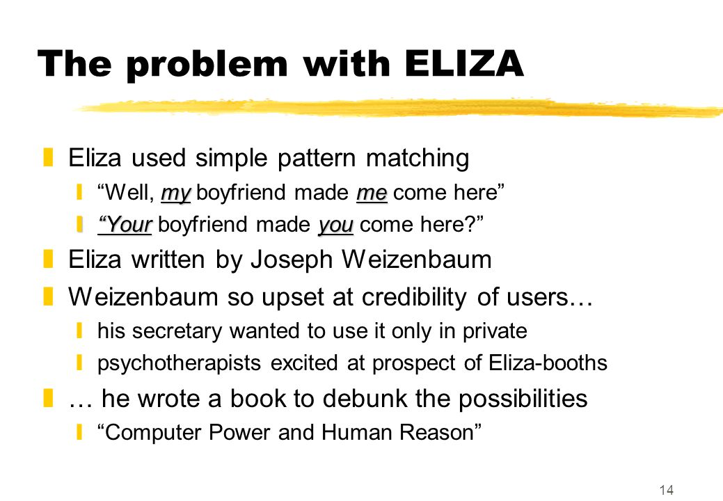 14 The problem with ELIZA zEliza used simple pattern matching myme y Well, my boyfriend made me come here y Youryou y Your boyfriend made you come here zEliza written by Joseph Weizenbaum zWeizenbaum so upset at credibility of users… yhis secretary wanted to use it only in private ypsychotherapists excited at prospect of Eliza-booths z… he wrote a book to debunk the possibilities y Computer Power and Human Reason