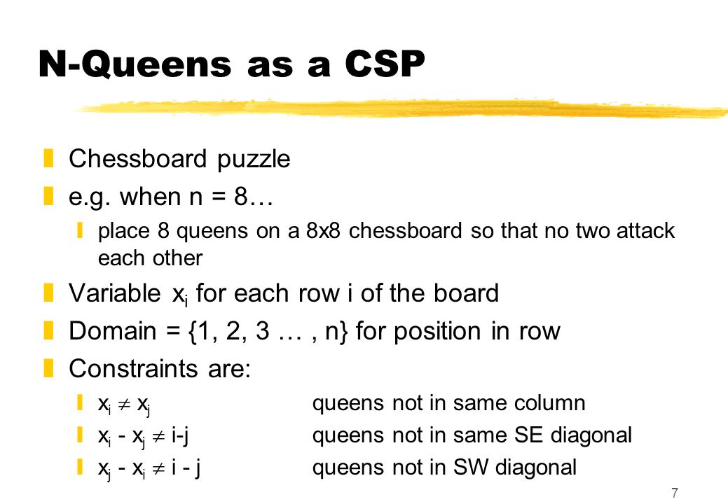 7 N-Queens as a CSP zChessboard puzzle ze.g.