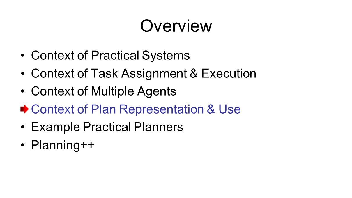 Overview Context of Practical Systems Context of Task Assignment & Execution Context of Multiple Agents Context of Plan Representation & Use Example Practical Planners Planning++