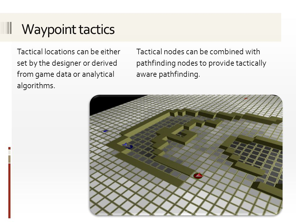 Tactical locations can be either set by the designer or derived from game data or analytical algorithms.
