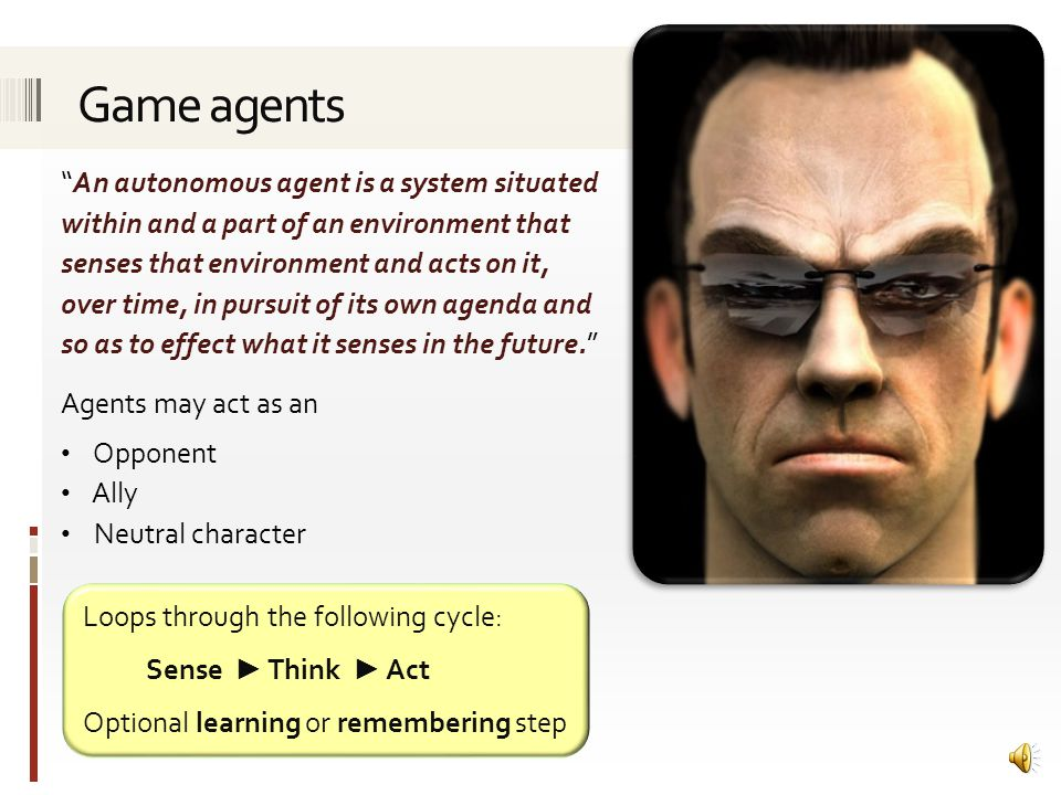 Using an agent driven approach to control game character AI