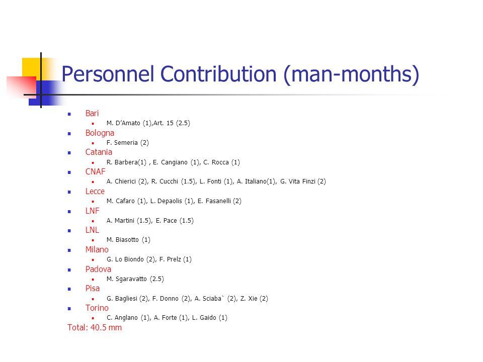 Personnel Contribution (man-months) Bari M. D'Amato (1),Art.