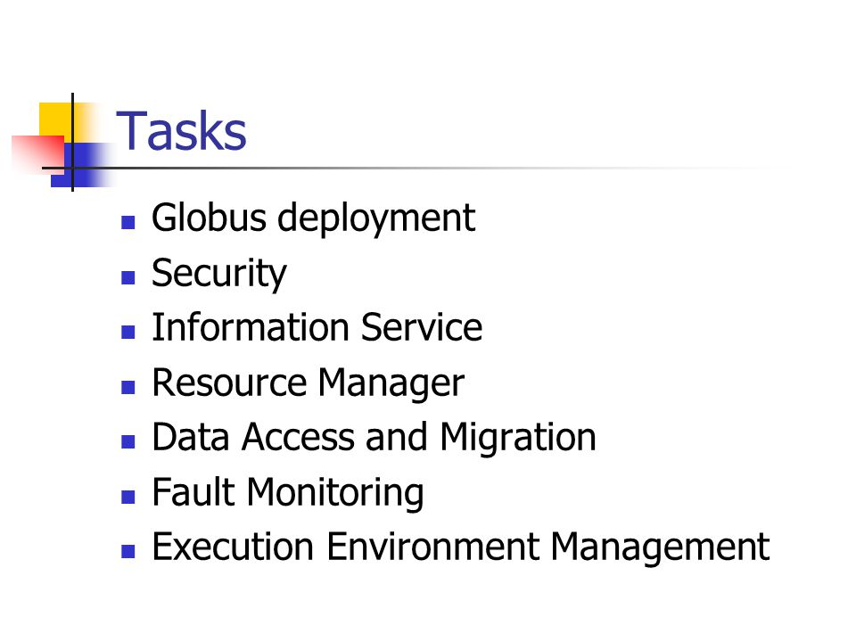 Tasks Globus deployment Security Information Service Resource Manager Data Access and Migration Fault Monitoring Execution Environment Management