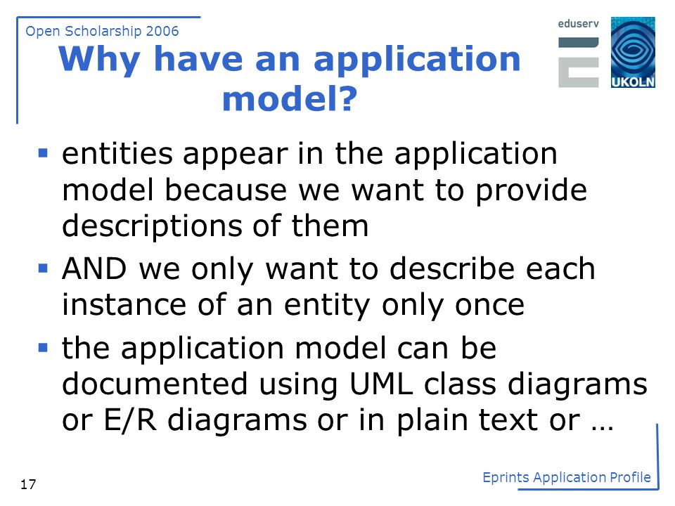 Open Scholarship 2006 Eprints Application Profile 17 Why have an application model?  entities appear in the application model because we want to prov