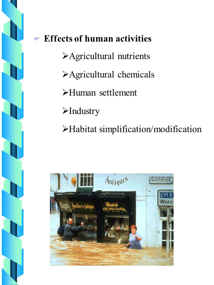 F Effects of human activities  Agricultural nutrients  Agricultural chemicals  Human settlement  Industry  Habitat simplification/modification