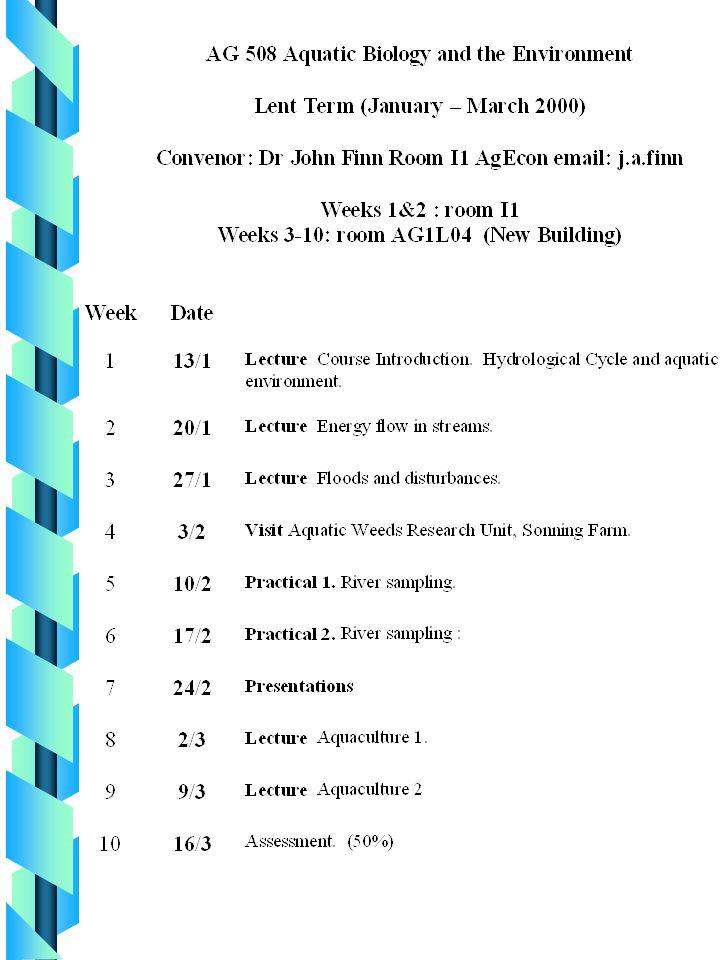 Ag 508 Aquatic Biology and Environment F Dr. John A.