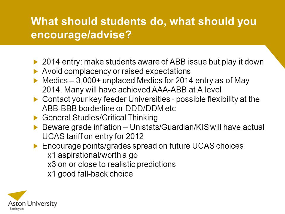 What should students do, what should you encourage/advise.