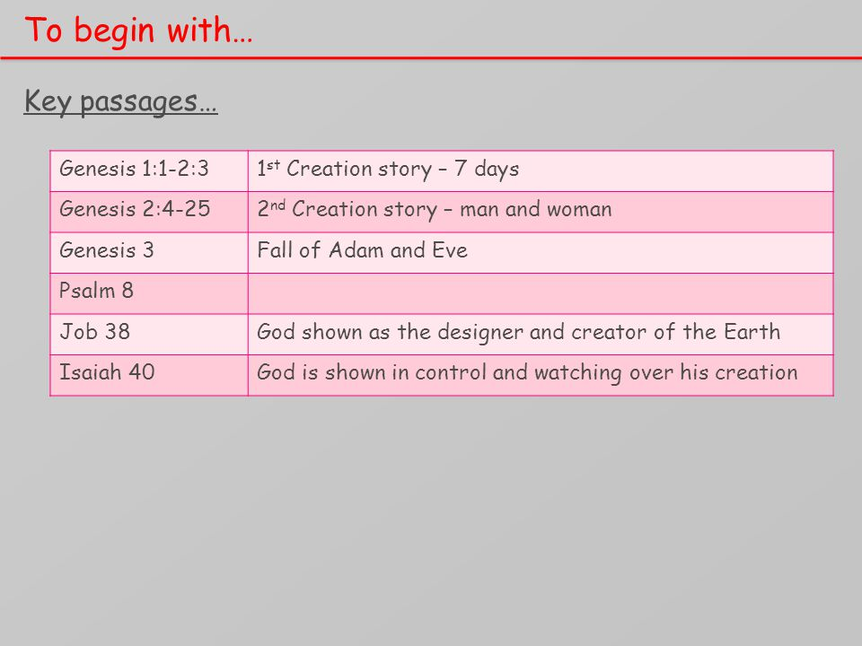 To begin with… Key passages… Genesis 1:1-2:31 st Creation story – 7 days Genesis 2:4-252 nd Creation story – man and woman Genesis 3Fall of Adam and Eve Psalm 8 Job 38God shown as the designer and creator of the Earth Isaiah 40God is shown in control and watching over his creation