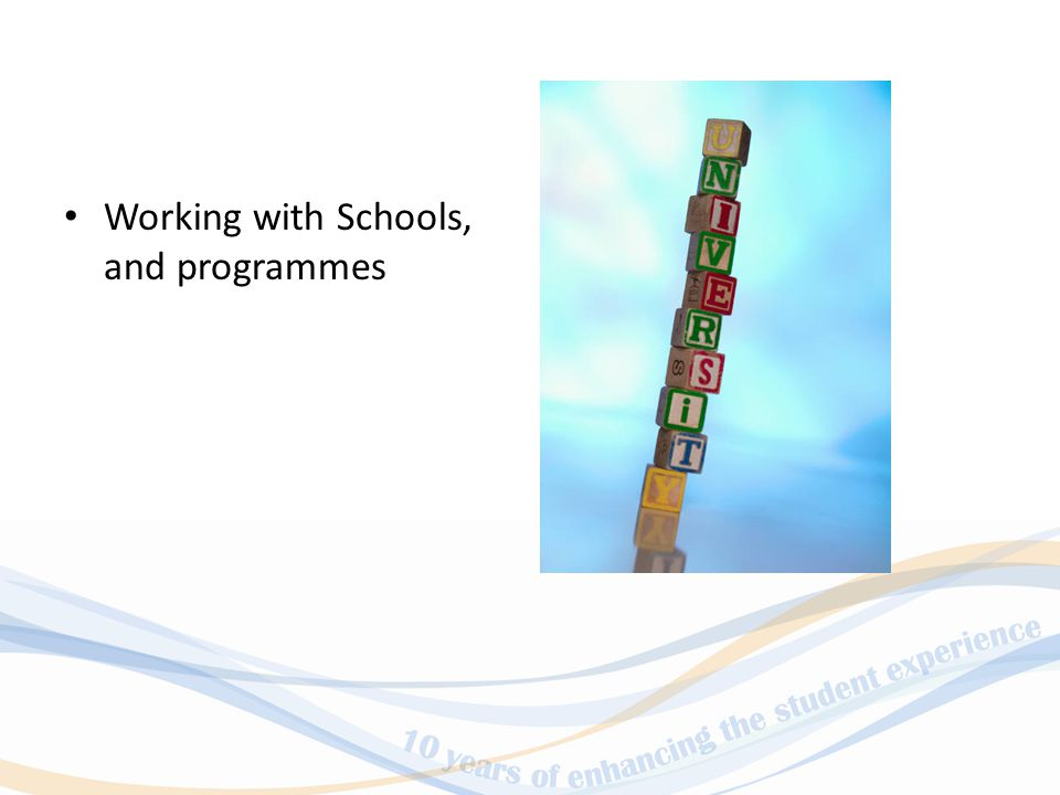 Working with Schools, and programmes