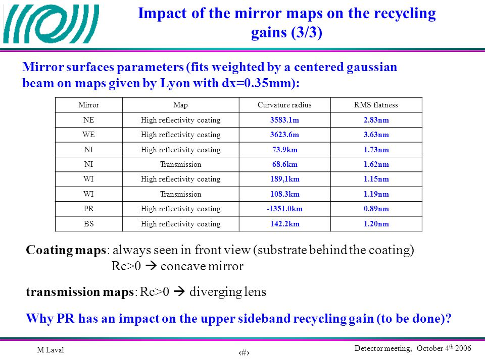 7 Detector meeting, October 4 th 2006 M Laval Impact of the mirror maps on the recycling gains (3/3) Mirror surfaces parameters (fits weighted by a centered gaussian beam on maps given by Lyon with dx=0.35mm): MirrorMapCurvature radiusRMS flatness NEHigh reflectivity coating3583.1m2.83nm WEHigh reflectivity coating3623.6m3.63nm NIHigh reflectivity coating73.9km1.73nm NITransmission68.6km1.62nm WIHigh reflectivity coating189,1km1.15nm WITransmission108.3km1.19nm PRHigh reflectivity coating-1351.0km0.89nm BSHigh reflectivity coating142.2km1.20nm Coating maps: always seen in front view (substrate behind the coating) Rc>0  concave mirror transmission maps: Rc>0  diverging lens Why PR has an impact on the upper sideband recycling gain (to be done)