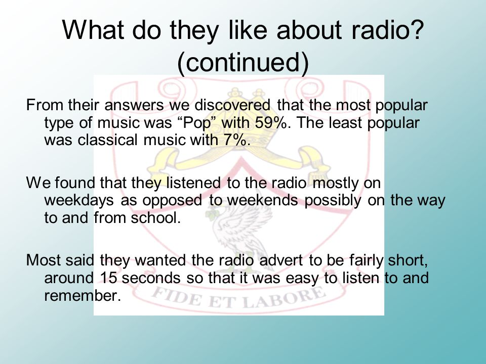 What do they like about radio.