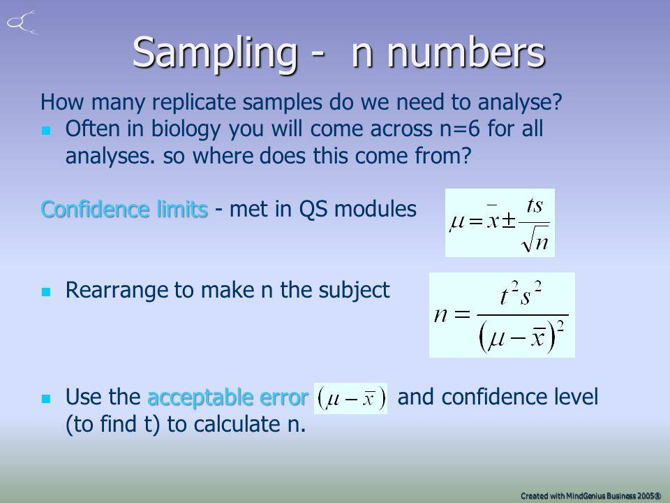 Created with MindGenius Business 2005® Obtaining a representative sample Usually the lot is not homogeneous but may be randomly heterogeneous randomly