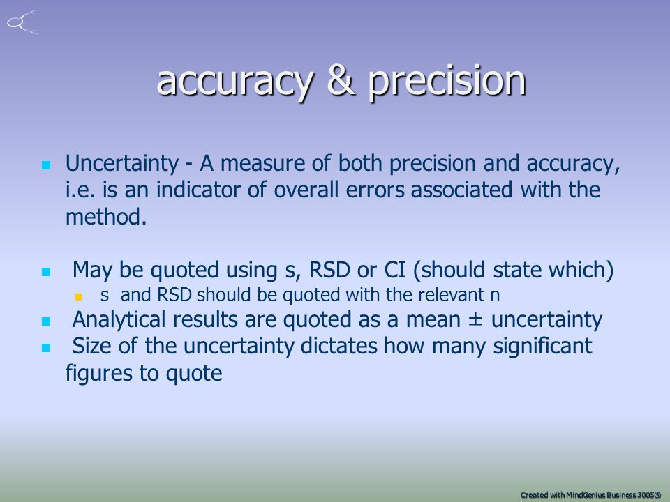 Created with MindGenius Business 2005® Accuracy and precision Accurate and Precise Inaccurate and Imprecise Accurate but not precise Precise but not a