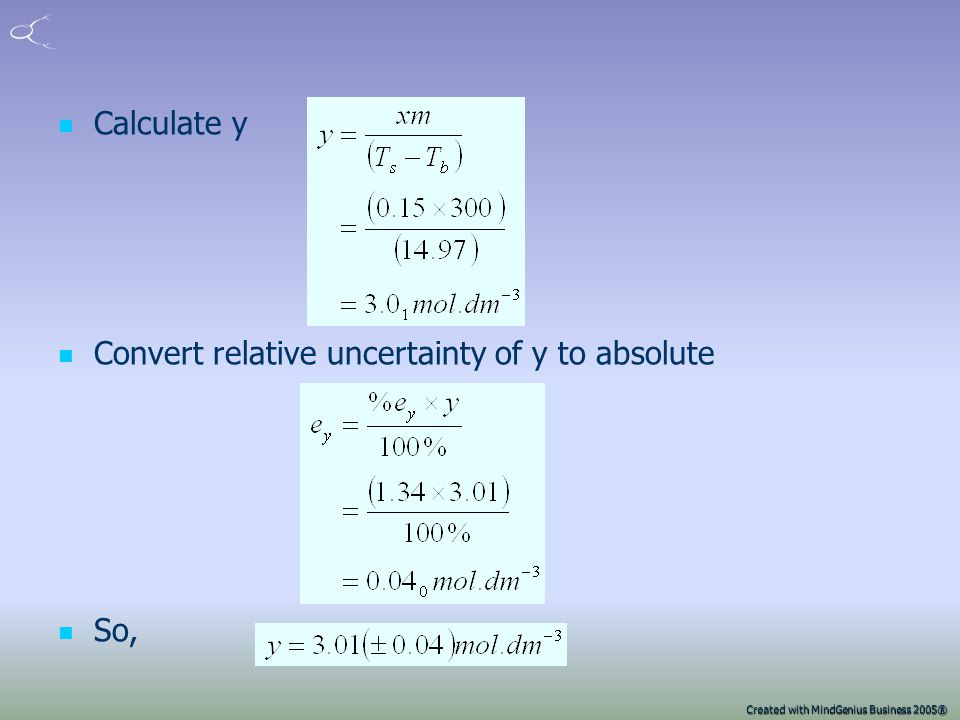 Created with MindGenius Business 2005® Now look at constant xm y = xm/(T s -T b ) m only affects absolute uncertainties for y To calculate e y we will