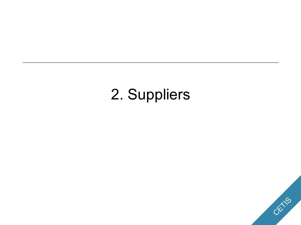 CETIS 2. Suppliers