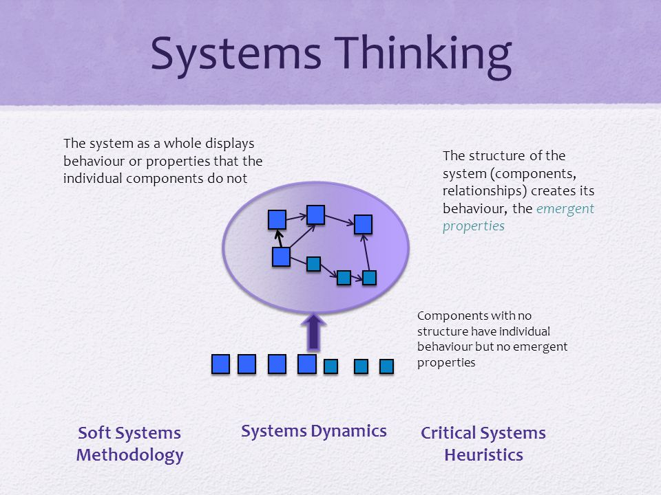 The structure of the system (components, relationships) creates its behaviour, the emergent properties Components with no structure have individual behaviour but no emergent properties The system as a whole displays behaviour or properties that the individual components do not Soft Systems Methodology Systems Dynamics Critical Systems Heuristics