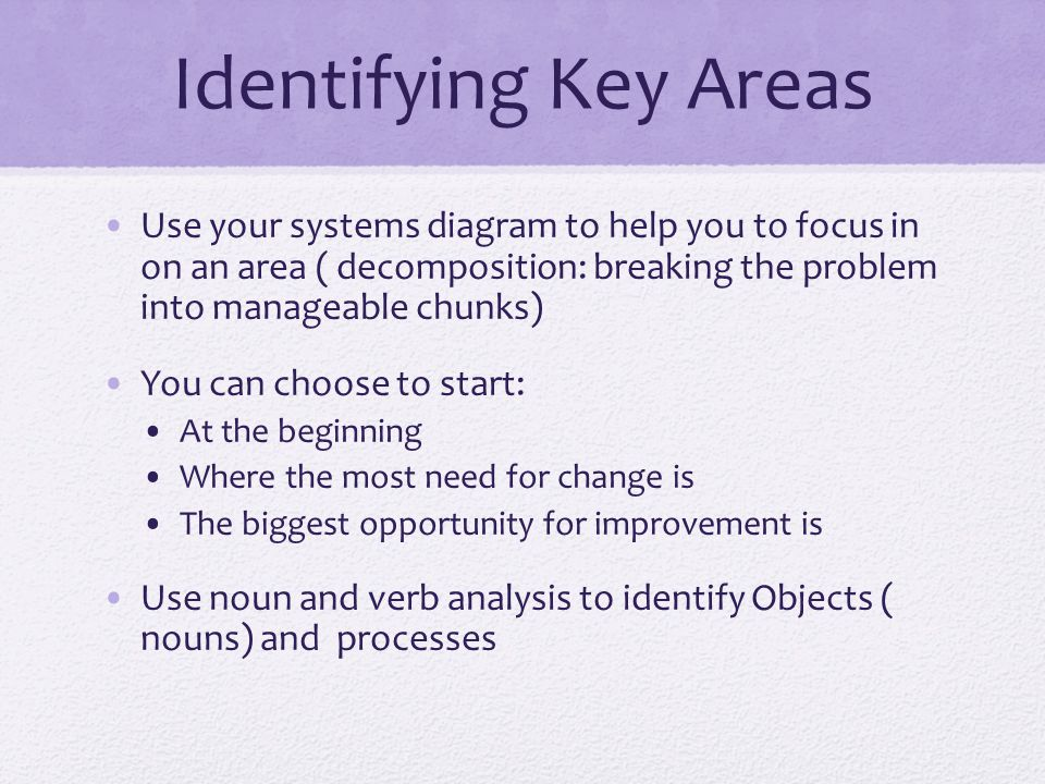 Identifying Key Areas Use your systems diagram to help you to focus in on an area ( decomposition: breaking the problem into manageable chunks) You can choose to start: At the beginning Where the most need for change is The biggest opportunity for improvement is Use noun and verb analysis to identify Objects ( nouns) and processes