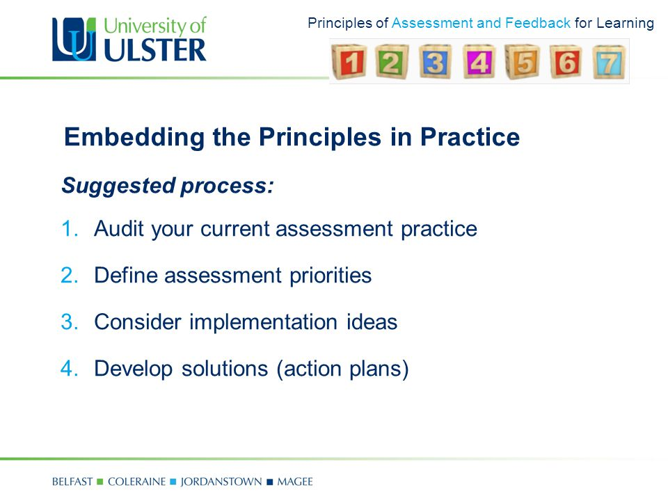 Principles of Assessment and Feedback for Learning Embedding the Principles in Practice Suggested process: 1.Audit your current assessment practice 2.Define assessment priorities 3.Consider implementation ideas 4.Develop solutions (action plans)